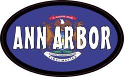Flag Oval Ann Arbor MI Vinyl Sticker