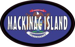 Flag Oval Mackinac Island MI Vinyl Sticker