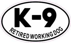Oval K-9 Retired Working Dog Vinyl Sticker