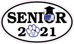 Blue Cougar Face Mask Senior 2021 Vinyl Sticker