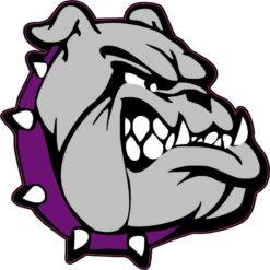 Purple and White Collar Bulldog Mascot Vinyl Sticker