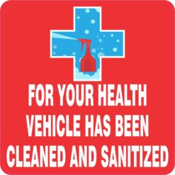 Vehicle Has Been Cleaned and Sanitized Magnet