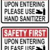 Upon Entering Use Hand Sanitizer Vinyl Stickers