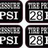 Tire Pressure 28 PSI Vinyl Stickers