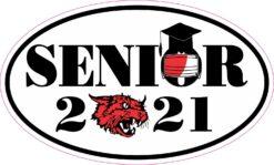 Red Wildcat Face Mask Senior 2021 Vinyl Sticker