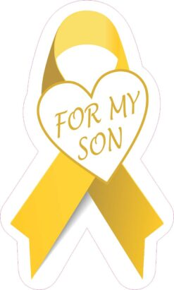 Gold Ribbon for My Son Vinyl Sticker