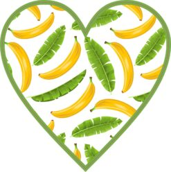 Banana Heart Vinyl Sticker