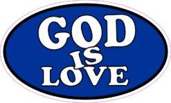 Blue Oval God Is Love Vinyl Sticker