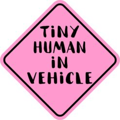 Pink Tiny Human in Vehicle Magnet