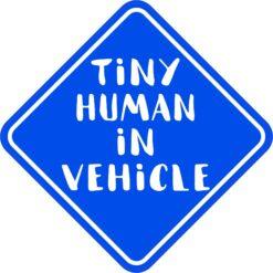 Blue Tiny Human in Vehicle Vinyl Sticker