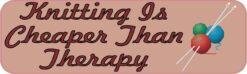 Knitting Cheaper Than Therapy Vinyl Sticker