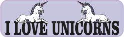 Purple I Love Unicorns Vinyl Sticker