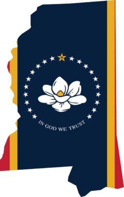 Die Cut Mississippi Flag Vinyl Sticker