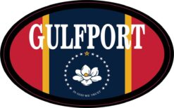 Flag Oval Gulfport Vinyl Sticker