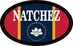 Flag Oval Natchez Vinyl Sticker