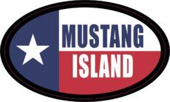 Flag Oval Mustang Island Vinyl Sticker