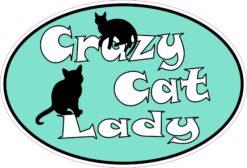 Oval Crazy Cat Lady Vinyl Sticker