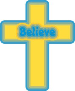 Gold Blue Believe Cross Vinyl Sticker