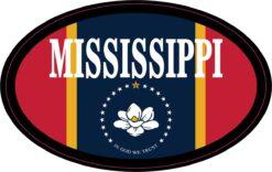 Flag Oval Mississippi Vinyl Sticker