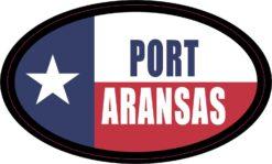 Flag Oval Port Aransas Vinyl Sticker
