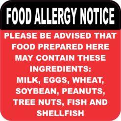 Food Allergy Notice Vinyl Sticker