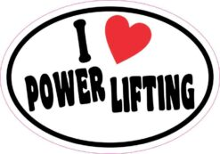 Oval I Love Power Lifting Vinyl Sticker