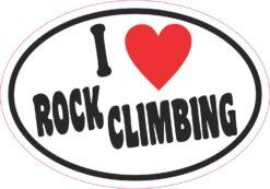 Oval I Love Rock Climbing Vinyl Sticker