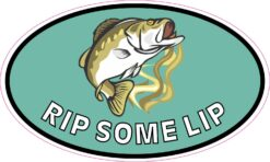 Oval Rip Some Lip Bass Fishing Vinyl Sticker