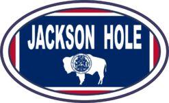 Flag Oval Jackson Hole Vinyl Sticker