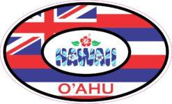 Hibiscus Oval Oahu Hawaii Vinyl Sticker