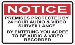 Premises Protected by 24 Hour Surveillance Vinyl Sticker