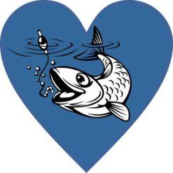 Fishing Heart Vinyl Sticker