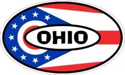 Flag Oval Ohio Vinyl Sticker