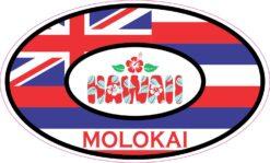 Oval Molokai Hawaii Vinyl Sticker