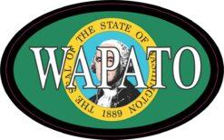 Oval Washington Flag Wapato Vinyl Sticker