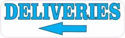 Blue and White Left Arrow Deliveries Vinyl Sticker