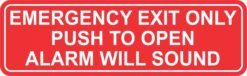 Push to Open Emergency Exit Only Vinyl Sticker