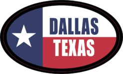 Flag Oval Dallas Texas Vinyl Sticker