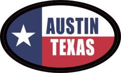 Flag Oval Austin Texas Vinyl Sticker