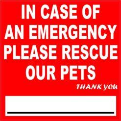 In Case of Emergency Please Rescue Our Pets Vinyl Sticker