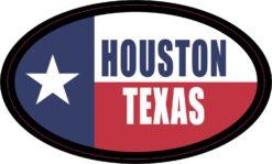Flag Oval Houston Texas Vinyl Sticker