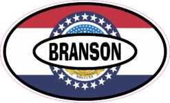 Missouri Flag Oval Branson Vinyl Sticker