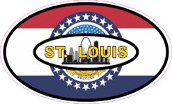 Skyline Flag Oval St Louis Vinyl Sticker