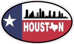 Skyline Flag Oval Houston Vinyl Sticker