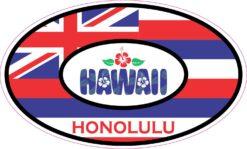 Hibiscus Oval Honolulu Hawaii Vinyl Sticker