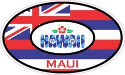Hibiscus Oval Maui Hawaii Vinyl Sticker