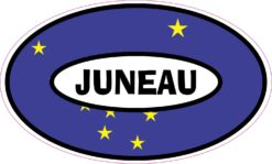 Flag Oval Juneau Alaska Vinyl Sticker