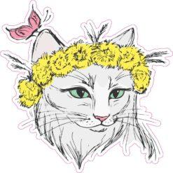 Flower Crown Cat Vinyl Sticker