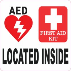 AED and First Aid Kit Located Inside Vinyl Sticker