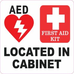 AED and First Aid Kit Located in Cabinet Vinyl Sticker
